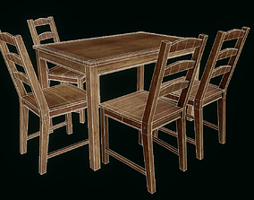 3D asset Wooden table and chairs