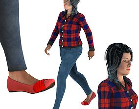 Walking Woman 3D model realtime