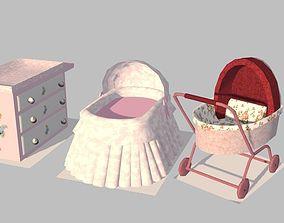 Set Decor nursery baby 3D asset