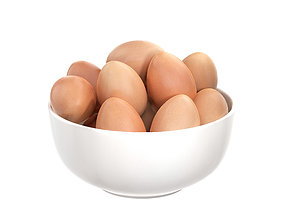 3D White Bowl with Eggs