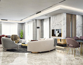 3D model Modern Public Area in one Apartment - Luxurious