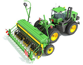 3D model Tractor with Seed Drill farm