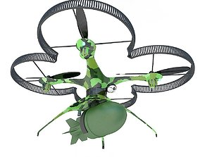 Military drone quadcopter with bomb 3D