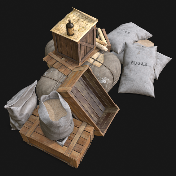 Pirate props and storage assets