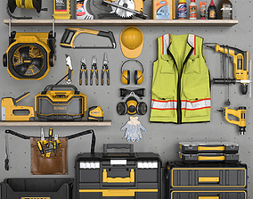 garage tools set 4 3D model game-ready