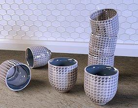 Handleless Tea Mug Set 3D model