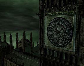 Big Ben Westminster Bridge gritty-style textures 3D