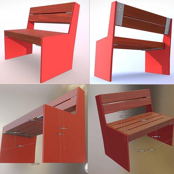Park Bench 8 Oak Red Metal Frame 1