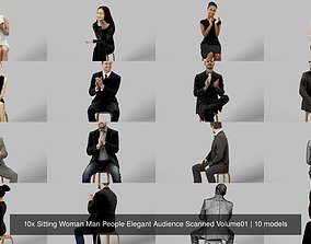 10x Sitting Woman Man People Elegant Audience 3D model 1