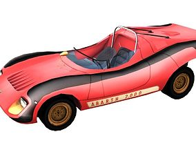 Abarth 2000 Sport Spider High Medium Low Poly 3D asset