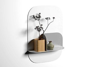 Okewa Shelf and Awha Bookends 3D model wall
