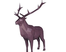3D asset Elk Low Poly