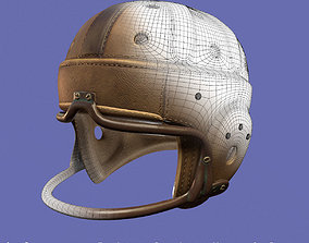3D model Vintage 1940 antique leather football helmet