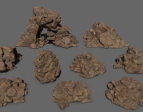 winter desert rocks 3D model VR / AR ready
