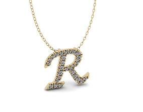 Pendant Alphabet Letter R 3D printable model