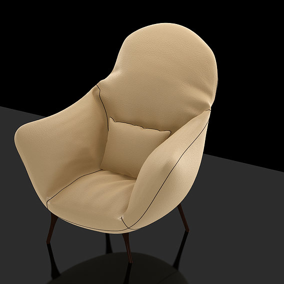 Sofa Design, Cream Leather & Velvet, Materials Lights Rendering 3DSMAX