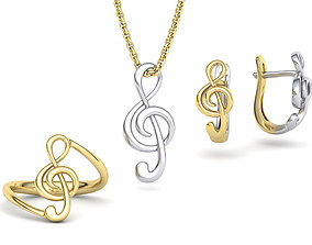 3D printable model Musical Note Collection RING EARRING 2