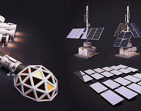 Space Craft Solar Panels Mars Colony Spaceship 3D asset 2