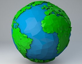 Crystallised Low Poly Cartoon Earth 3D model rigged