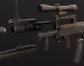 OTs-14 Groza with attachments 3D asset