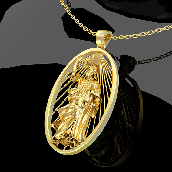 Jesus-Sculpture-Pendant-Jewelry-Gold 3D print model
