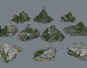 3D asset VR / AR ready rocks mount