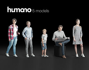 Humano 5-Pack - PEOPLE - HOME - FAMILLY - 5x 3D models 1