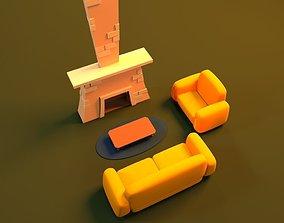 3D Cartoon Fire Place