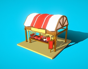 3D asset HIE Meat Stall N1