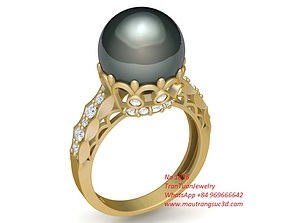 3D print model 1836 Diamond Pearl Ring