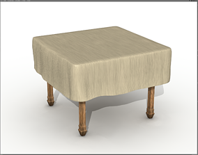 3D model realtime Square wooden table