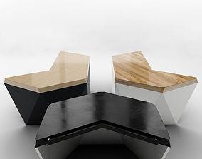 Hexagon table 3D model low
