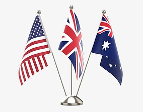 Desk decorative flag on triple flagpole 3D model