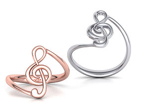 Music Note Treble Clef Note Ring Melody ring 3dmodel