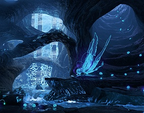 Magic night cave waterfall energy flower and shells 3D