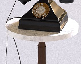 Vintage Rotary Phone with Marble Table 3D