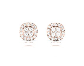 Women earrings 3dm render detail engagement studs