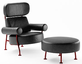 3D model Ligne Roset Astair armchair and puff
