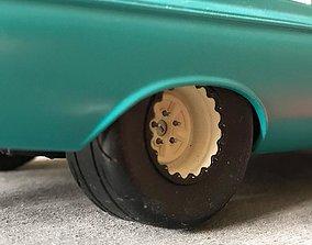 Deep Dish steel wheel and hub assembly drag racing scale