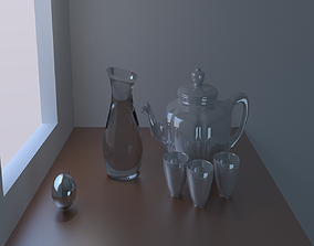 3D Teapot and mugs on the table