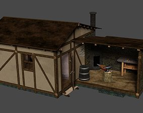 3D model Furnitured medieval blacksmith house with 2