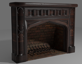 Wooden Mantle Fireplace with Fire Grate 3D model