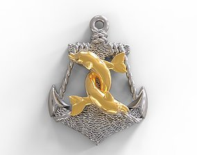 3D print model Anchor and dolphins pendant