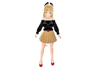 ASIAN GIRL CAT 3D MODEL RIGGED T POSE SHAPE rigged