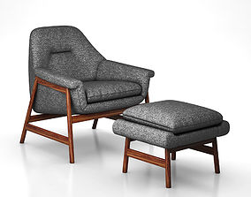 Theo Show Wood Chair and Ottoman by West Elm 3D