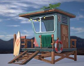 Low poly model of a beach lifeguard 3D asset