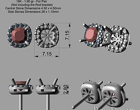 Cushion Cut Earrrings 3D Print Model