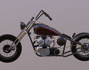 game-ready Harley Davidson chopper 3D Model