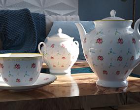 3D model Tea set flower pattern
