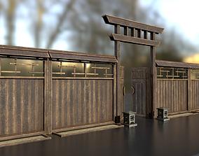 Japanese wooden modular fence 3D model